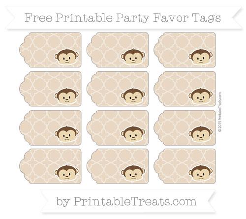 Free Tan Quatrefoil Pattern Boy Monkey Party Favor Tags
