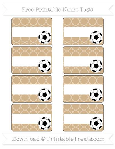 Free Tan Quatrefoil Pattern Soccer Name Tags