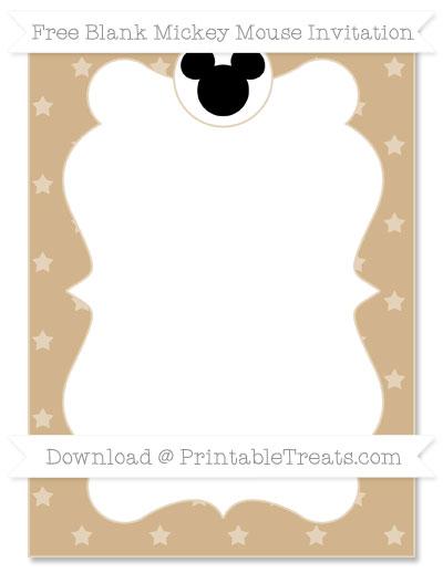 Free Tan Star Pattern Blank Mickey Mouse Invitation