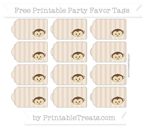 Free Tan Striped Boy Monkey Party Favor Tags