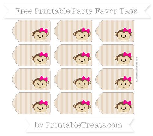 Free Tan Striped Girl Monkey Party Favor Tags