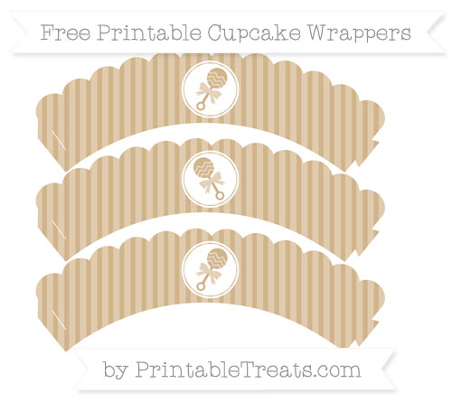Free Tan Thin Striped Pattern Baby Rattle Scalloped Cupcake Wrappers