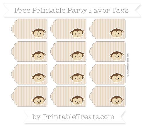 Free Tan Thin Striped Pattern Boy Monkey Party Favor Tags