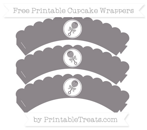 Free Taupe Grey Baby Rattle Scalloped Cupcake Wrappers