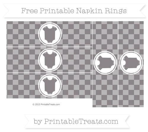 Free Taupe Grey Checker Pattern Baby Onesie Napkin Rings