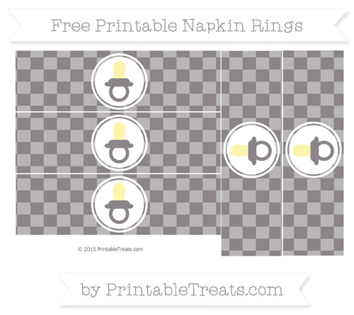 Free Taupe Grey Checker Pattern Baby Pacifier Napkin Rings