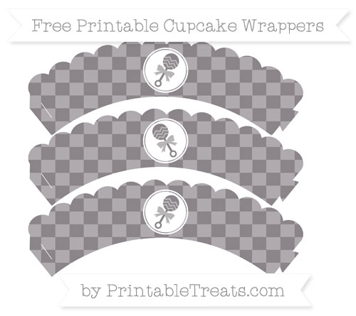Free Taupe Grey Checker Pattern Baby Rattle Scalloped Cupcake Wrappers