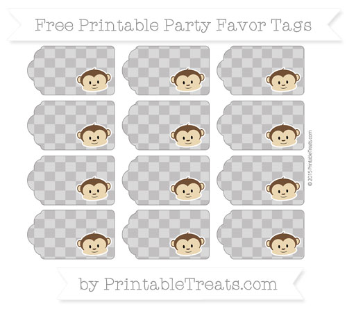 Free Taupe Grey Checker Pattern Boy Monkey Party Favor Tags