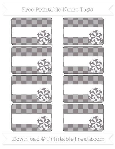 Free Taupe Grey Checker Pattern Cheer Pom Pom Tags