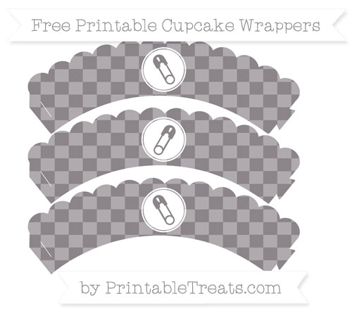 Free Taupe Grey Checker Pattern Diaper Pin Scalloped Cupcake Wrappers