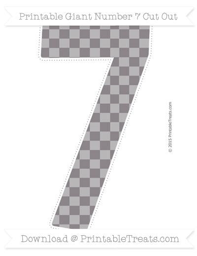 Free Taupe Grey Checker Pattern Giant Number 7 Cut Out