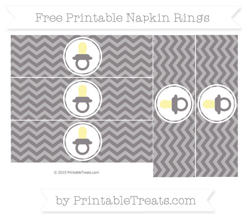 Free Taupe Grey Chevron Baby Pacifier Napkin Rings