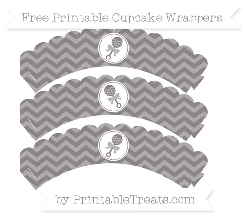 Free Taupe Grey Chevron Baby Rattle Scalloped Cupcake Wrappers