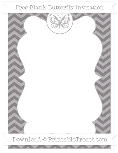 Free Taupe Grey Chevron Blank Butterfly Invitation