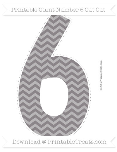 Free Taupe Grey Chevron Giant Number 6 Cut Out