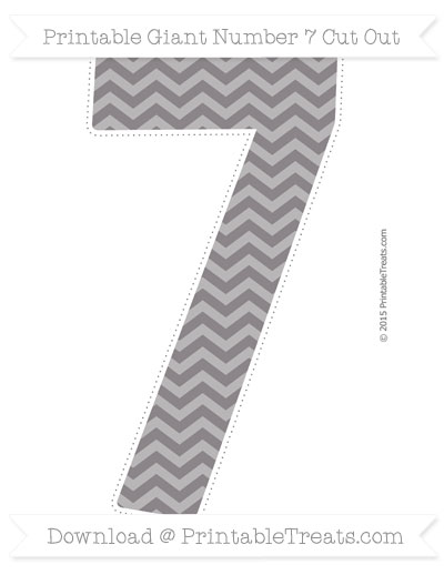 Free Taupe Grey Chevron Giant Number 7 Cut Out