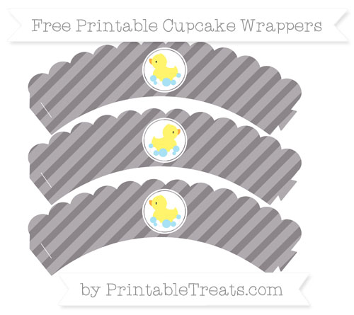 Free Taupe Grey Diagonal Striped Baby Duck Scalloped Cupcake Wrappers