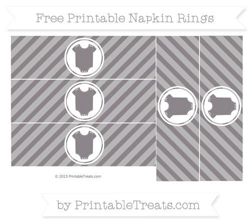 Free Taupe Grey Diagonal Striped Baby Onesie Napkin Rings
