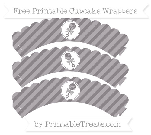 Free Taupe Grey Diagonal Striped Baby Rattle Scalloped Cupcake Wrappers
