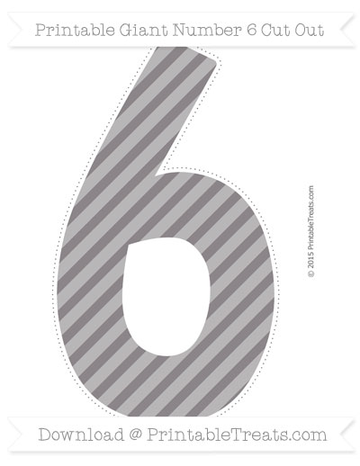 Free Taupe Grey Diagonal Striped Giant Number 6 Cut Out
