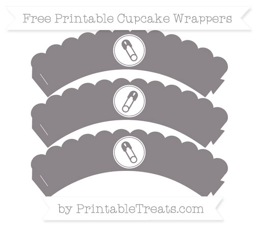Free Taupe Grey Diaper Pin Scalloped Cupcake Wrappers