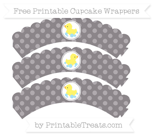Free Taupe Grey Dotted Pattern Baby Duck Scalloped Cupcake Wrappers
