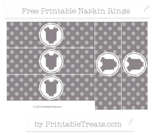 Free Taupe Grey Dotted Pattern Baby Onesie Napkin Rings