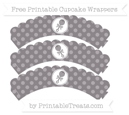 Free Taupe Grey Dotted Pattern Baby Rattle Scalloped Cupcake Wrappers