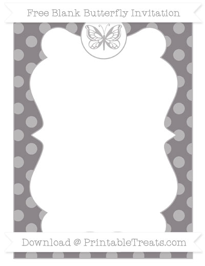 Free Taupe Grey Dotted Pattern Blank Butterfly Invitation