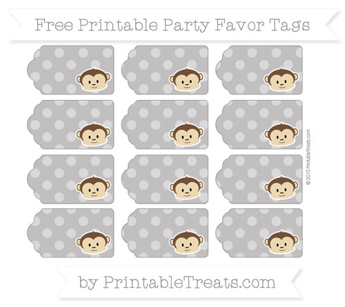 Free Taupe Grey Dotted Pattern Boy Monkey Party Favor Tags