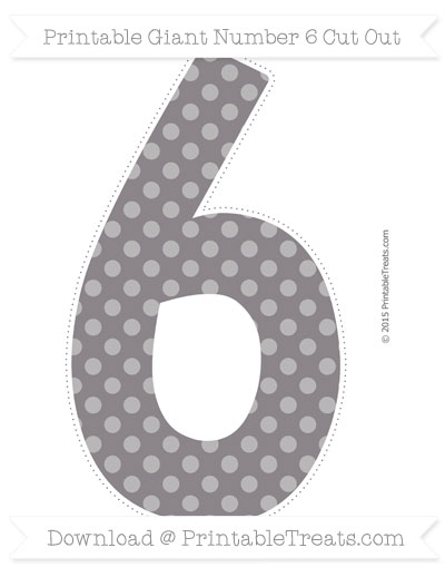 Free Taupe Grey Dotted Pattern Giant Number 6 Cut Out