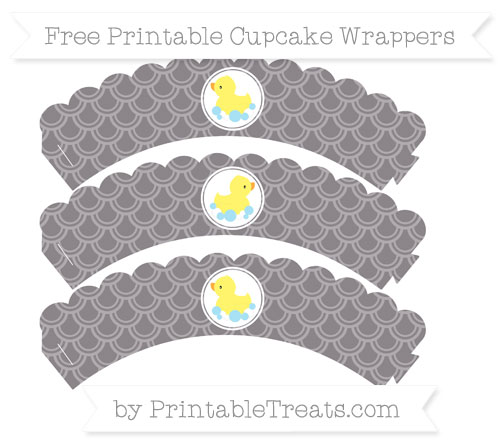 Free Taupe Grey Fish Scale Pattern Baby Duck Scalloped Cupcake Wrappers