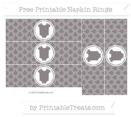 Free Taupe Grey Fish Scale Pattern Baby Onesie Napkin Rings