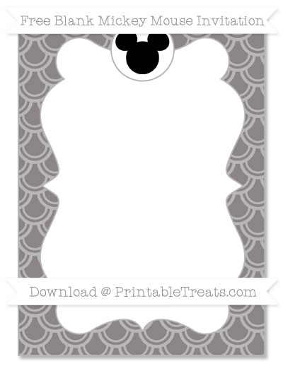 Free Taupe Grey Fish Scale Pattern Blank Mickey Mouse Invitation
