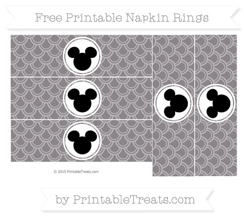 Free Taupe Grey Fish Scale Pattern Mickey Mouse Napkin Rings