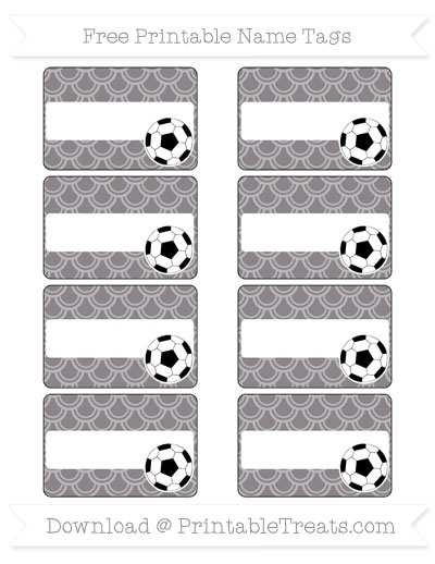 Free Taupe Grey Fish Scale Pattern Soccer Name Tags