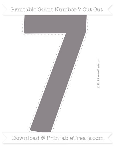 Free Taupe Grey Giant Number 7 Cut Out