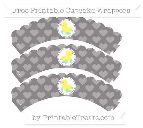 Free Taupe Grey Heart Pattern Baby Duck Scalloped Cupcake Wrappers