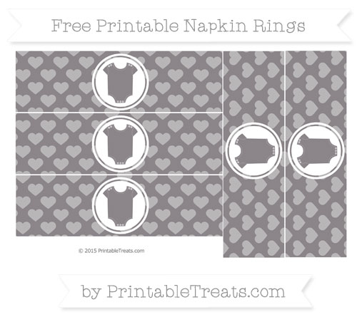 Free Taupe Grey Heart Pattern Baby Onesie Napkin Rings