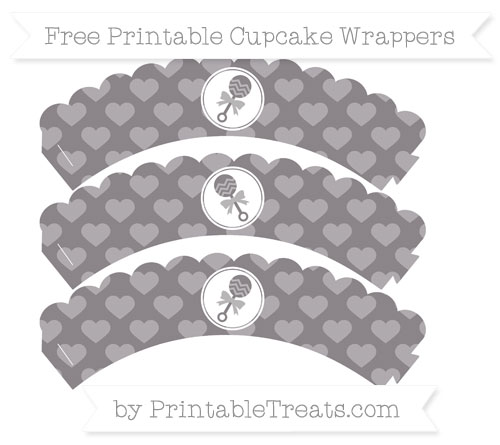 Free Taupe Grey Heart Pattern Baby Rattle Scalloped Cupcake Wrappers