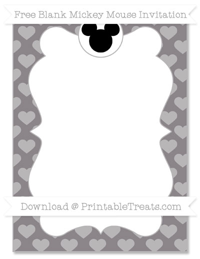 Free Taupe Grey Heart Pattern Blank Mickey Mouse Invitation