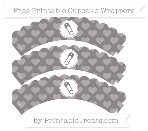 Free Taupe Grey Heart Pattern Diaper Pin Scalloped Cupcake Wrappers
