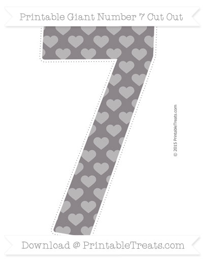 Free Taupe Grey Heart Pattern Giant Number 7 Cut Out