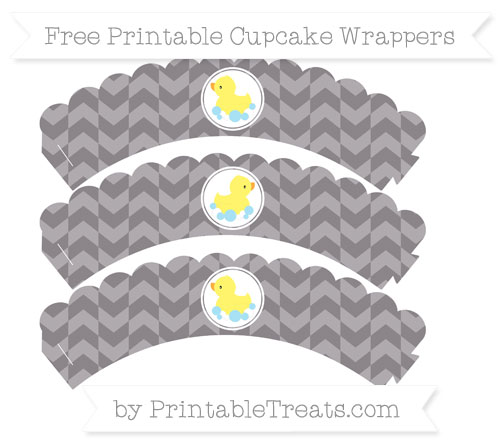 Free Taupe Grey Herringbone Pattern Baby Duck Scalloped Cupcake Wrappers