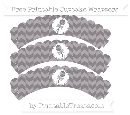 Free Taupe Grey Herringbone Pattern Baby Rattle Scalloped Cupcake Wrappers