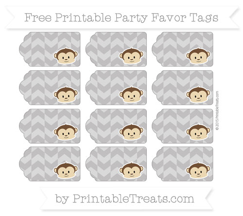 Free Taupe Grey Herringbone Pattern Boy Monkey Party Favor Tags