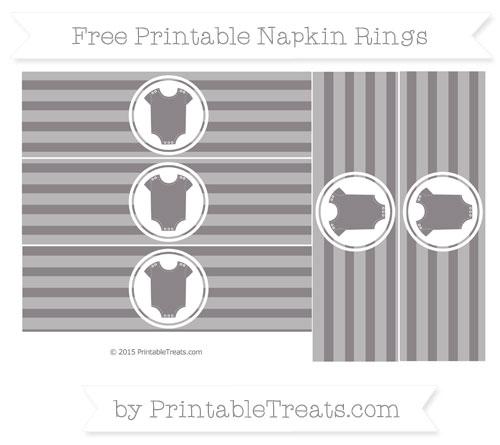 Free Taupe Grey Horizontal Striped Baby Onesie Napkin Rings