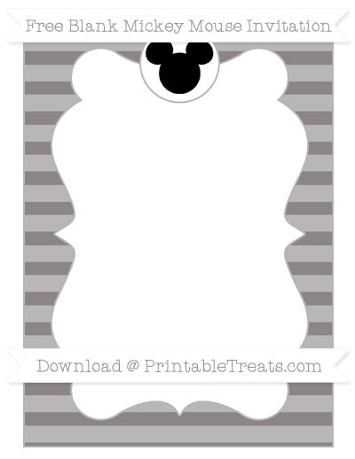 Free Taupe Grey Horizontal Striped Blank Mickey Mouse Invitation