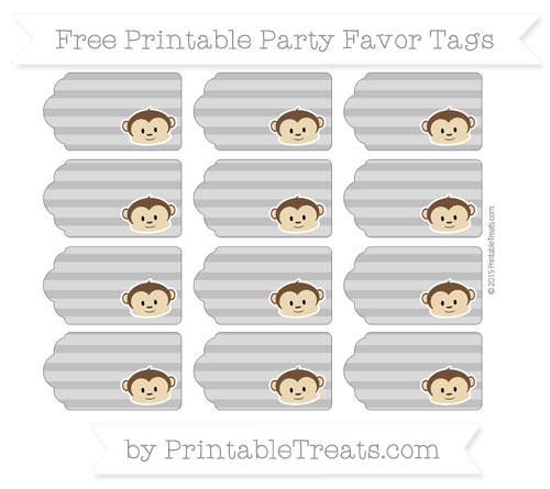 Free Taupe Grey Horizontal Striped Boy Monkey Party Favor Tags