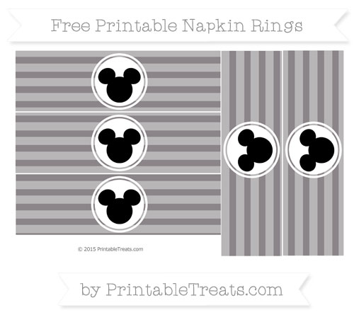 Free Taupe Grey Horizontal Striped Mickey Mouse Napkin Rings